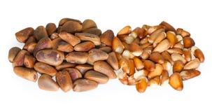Pine nuts on the white. Studio shoot Stock Photos