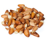 Pine nuts on the white Royalty Free Stock Images