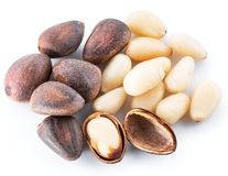 Pine nuts on the white background. Organic food. royalty free stock photos