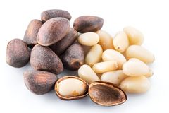 Pine nuts on the white background. Organic food.  stock image