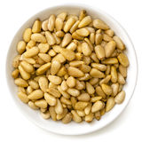 Pine Nuts in White Bowl stock photos