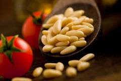 Pine nuts on wooden spoon royalty free stock images