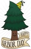 Pine with a Party Hat and Ribbon Celebrating Arbor Day, Vector Illustration. Cute, smiling pine with a party hat and a greeting ribbon around it celebrating vector illustration