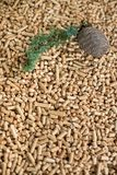 Pine pellets - wooden biomass stock images