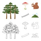 Pine, poisonous mushroom, tree, squirrel, saw.Forest set collection icons in cartoon,outline style vector symbol stock. Illustration Stock Image