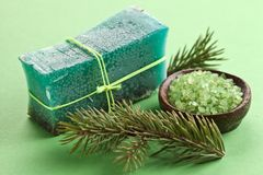 Pine soap with sea-salt. Royalty Free Stock Photos