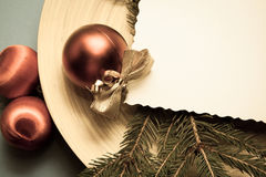 Pine and toys for new year Royalty Free Stock Photo