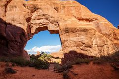 Pine Tree arch in Arches National Park in Utah, USA.  Royalty Free Stock Image