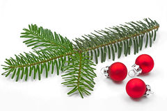 Pine tree branch with christmas balls Stock Photo