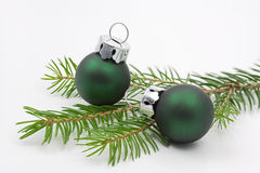 Pine tree branch with christmas balls Stock Photography