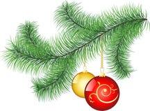 Pine tree branch. With decorative balls Royalty Free Illustration