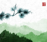 Pine tree branch an green mountains with forest trees in fog on rice paper background. Hieroglyph - clarity. Traditional. Oriental ink painting sumi-e, u-sin Royalty Free Stock Photography