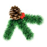 Pine tree branch icon, realistic style royalty free illustration