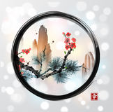 Pine tree branch, red sakura cherry tree in blossom and high mountains in black enso zen circle on white glowing. Background. Contains hieroglyph - happiness Stock Photos