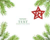 Pine tree branch and star christmas. Pine tree branch and red star christmas Stock Image