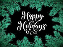 Pine tree branches background card Happy Holidays Royalty Free Stock Photo