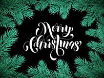 Pine tree branches background card Merry Christmas. Background with Christmas pine tree branches and lettering for greeting card Royalty Free Stock Image