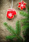 Pine tree branches Christmas gingerbread biscuits on bagging bac Royalty Free Stock Photo