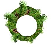 Pine tree branches and cones in a circle with round card for tex. T. Christmas background. Flat lay. Top view Royalty Free Stock Photo
