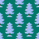 Pine tree cartoon green vector winter holiday needle seamless pattern trunk fir plant natural design illustration Stock Photos