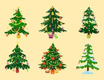 Pine tree cartoon green vector winter holiday needle leaf trunk fir plant natural design illustration. Pine tree cartoon green vector winter needle holiday leaf Royalty Free Stock Photo