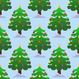 Pine tree cartoon green vector winter holiday needle seamless pattern trunk fir plant natural design illustration Stock Images