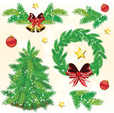 Pine tree Christmas design elements Royalty Free Stock Images