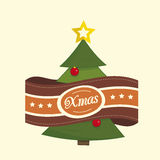 Pine tree christmas label Royalty Free Stock Image