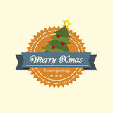 Pine tree christmas label Stock Photo