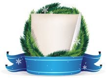 Pine Tree Christmas Wreath and sheet of paper Royalty Free Stock Image