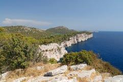 Pine tree cliffs Stock Image