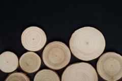 Pine tree cross-sections with annual rings on black background. Lumber piece close-up, top view. Pine tree cross-sections with annual rings on black background stock photography