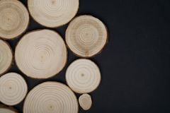 Pine tree cross-sections with annual rings on black background. Lumber piece close-up, top view. Pine tree cross-sections with annual rings on black background stock photos