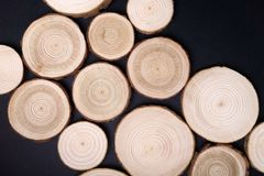 Pine tree cross-sections with annual rings on black background. Lumber piece close-up, top view. Pine tree cross-sections with annual rings on black background stock image