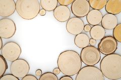 Pine tree cross-sections with annual rings on white background. Lumber piece close-up, top view. Pine tree cross-sections with annual rings on white background royalty free stock image