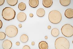 Pine tree cross-sections with annual rings on white background. Lumber piece close-up, top view. Pine tree cross-sections with annual rings on white background stock photo