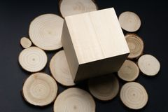 Pine tree cross-sections with annual rings and wooden cube on black surface. Lumber piece close-up. Pine tree cross-sections with annual rings and wooden cube royalty free stock image