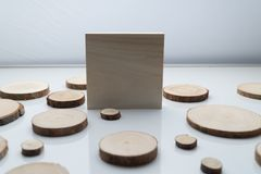 Pine tree cross-sections with annual rings and wooden square on white surface. Lumber piece close-up. Pine tree cross-sections with annual rings and wooden royalty free stock photos