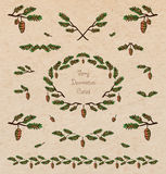 Pine tree decorative elements. Vector set of cute pine tree twigs decorative elements, borders and vignettes made of fir tree cones and branches for cards and Stock Photos