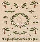 Pine tree decorative elements Stock Photos