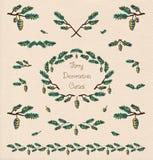 Pine tree decorative elements Royalty Free Stock Photo