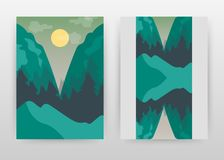 Pine tree forest and moon landscape business design for annual report, brochure, flyer, poster. Landscape background vector royalty free illustration