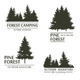 Pine tree forest silhouette vector. Fir trees silhouette logo. Pine plant wood branch natural forest silhouette. Trunk environment deciduous pine trees Stock Photo