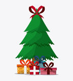 Pine tree and gifts design. Merry Christmas.  graphic Royalty Free Stock Photography