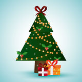Pine tree and gifts design. Merry Christmas.  graphic Royalty Free Stock Images