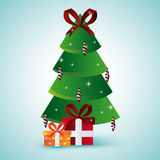Pine tree and gifts design. Merry Christmas.  graphic Stock Photos
