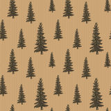 Pine tree hand drawn sketch retro, vintage Seamless Pattern. Vector Illustration. Stock Photos