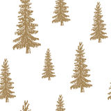 Pine tree hand drawn sketch retro, vintage Seamless Pattern. Vector Illustration. Stock Photography