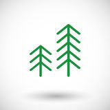 Pine tree  icon. Pine tree icon, outline design with round shadow,  illustration Royalty Free Stock Images