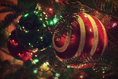 Pine tree with lights Christmas holiday ornaments. Night photo royalty free stock images